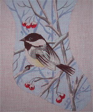 click here to view larger image of Chickadee Mini Stocking (hand painted canvases)