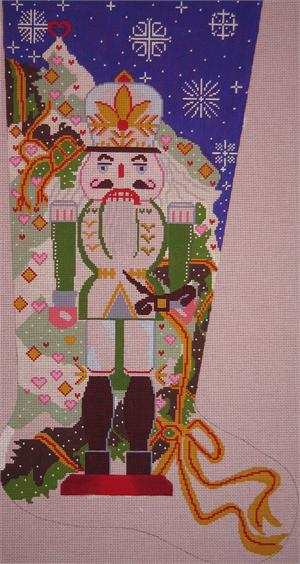 click here to view larger image of Green Nutcracker Stocking (hand painted canvases)