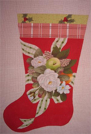 click here to view larger image of Christmas Rose Stocking (hand painted canvases)