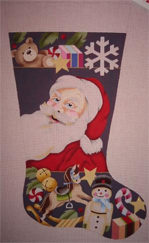 click here to view larger image of Santas Toys Stocking (hand painted canvases)