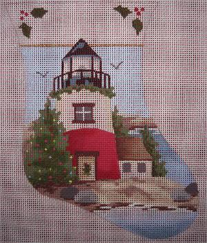 click here to view larger image of Lighthouse Mini Stocking (hand painted canvases)