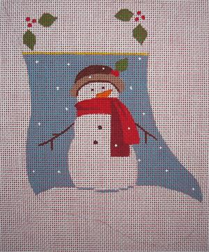 click here to view larger image of Red Scarf Snowman Mini Stocking (hand painted canvases)