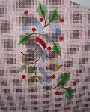 click here to view larger image of Silver Bells Mini Stocking (hand painted canvases)