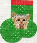 click here to view larger image of Yorkshire Terrier Mini Sock (hand painted canvases)