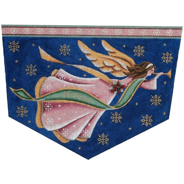 click here to view larger image of Mauve Angel Stocking Cuff - 13ct (hand painted canvases)