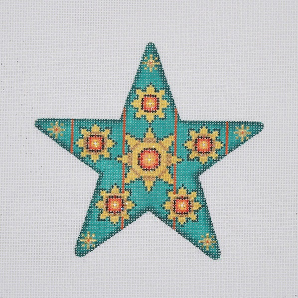 click here to view larger image of Christmas Ornament / Star / Aqua / Red Jewels (hand painted canvases)