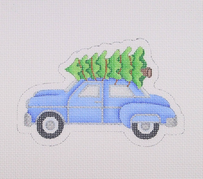 click here to view larger image of Christmas Ornament / Blue Car With Christmas Tree On Roof (hand painted canvases)
