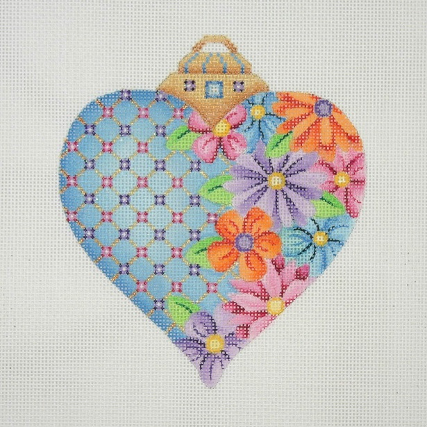 click here to view larger image of Hearts and Flowers / Blue with Orange Pink Purple and Blue Flowers / Pink and Purple Jewels (hand painted canvases)