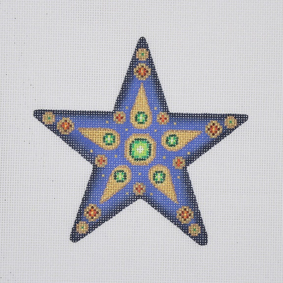 click here to view larger image of Christmas Ornament / Star / Blue / Green and Red Jewels (hand painted canvases)