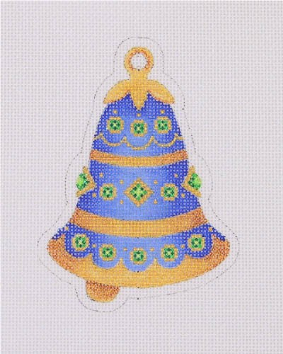 click here to view larger image of Jeweled Christmas Bell / Blue Gold and Green (hand painted canvases)