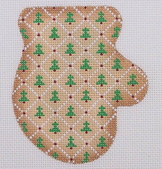 click here to view larger image of Gingerbread / Cookie / Mitten / Trees and Diamond Pattern (hand painted canvases)