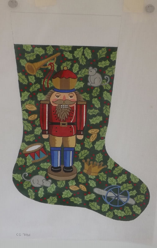 click here to view larger image of Christmas Stocking - 13ct - Nutcracker (hand painted canvases)