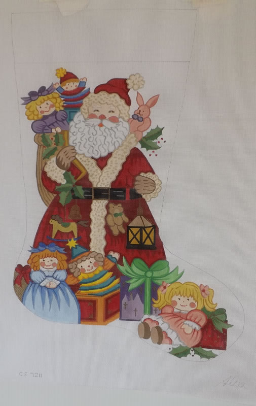 click here to view larger image of Christmas Stocking - 18ct - Santa With Dolls (hand painted canvases)