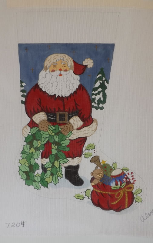 click here to view larger image of Christmas Stocking - Santa With Wreath - 13ct (hand painted canvases)