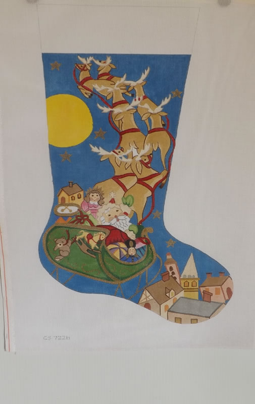 click here to view larger image of Christmas Stocking - Santa And Reindeer (hand painted canvases)