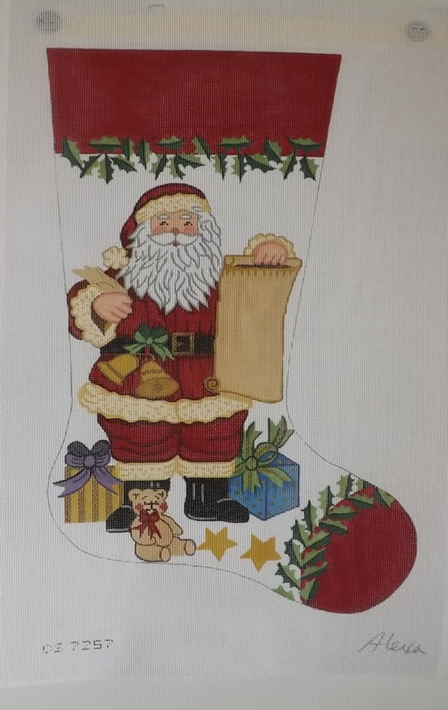 click here to view larger image of Christmas Stocking - Santa Checking His List - 13ct (hand painted canvases)
