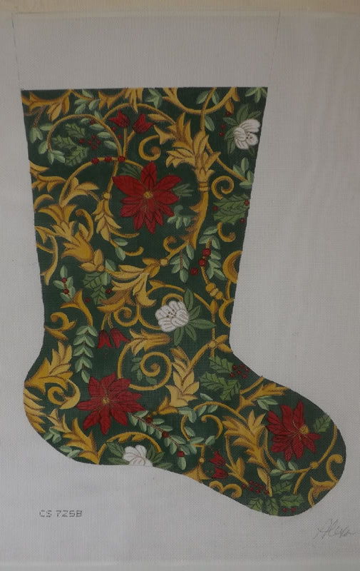 click here to view larger image of Christmas Stocking - Poinsettia - 18ct (hand painted canvases)