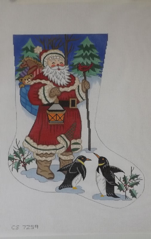 click here to view larger image of Christmas Stocking - Santa With Penguins - 13ct (hand painted canvases)