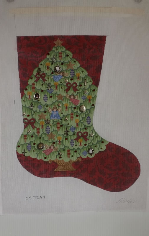 click here to view larger image of Christmas Stocking - Christmas Tree (hand painted canvases)