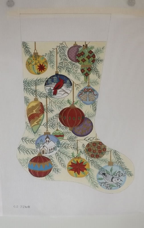 click here to view larger image of Christmas Stocking - Christmas Oranments - 18ct (hand painted canvases)