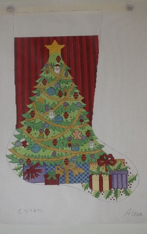 click here to view larger image of Christmas Stocking - Christmas Tree With Presents - 18ct (hand painted canvases)