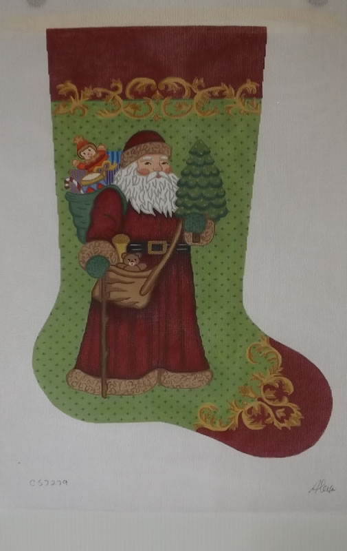 click here to view larger image of Christmas Stocking - Santa Holding Christmas Tree - 13ct (hand painted canvases)