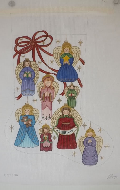 click here to view larger image of Christmas Stocking - Angel Ornaments - 13ct (hand painted canvases)