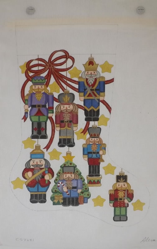 click here to view larger image of Christmas Stocking - Nutcracker Ornaments - 13ct (hand painted canvases)