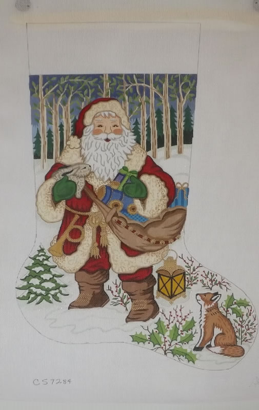 click here to view larger image of Christmas Stocking - Santa With Fox - 13ct (hand painted canvases)