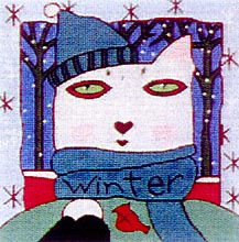 click here to view larger image of Winter Cat (hand painted canvases)