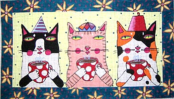 click here to view larger image of Cats In Hats (hand painted canvases)