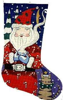 click here to view larger image of Time Out For Santa Stocking (hand painted canvases)