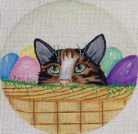 click here to view larger image of Easter Egg Kitty Basket - Green (hand painted canvases)