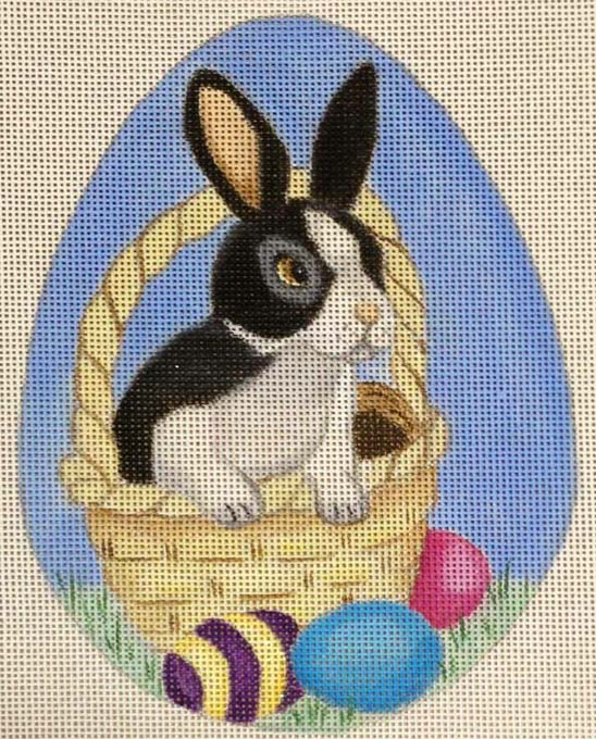 click here to view larger image of Blue Bunny Oval (hand painted canvases)