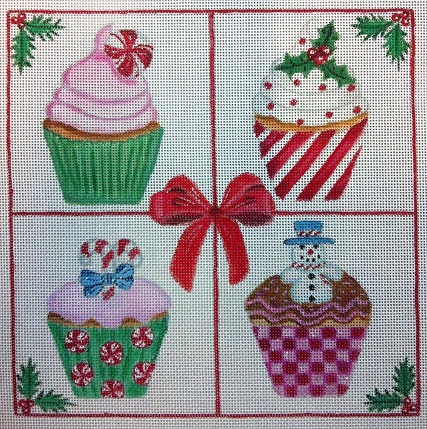click here to view larger image of Christmas Cupcakes (hand painted canvases)