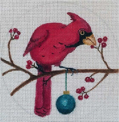 click here to view larger image of Cardinal Christmas Ornament (hand painted canvases)