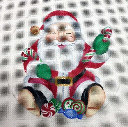 click here to view larger image of Candy Cane Santa Ornament (hand painted canvases)
