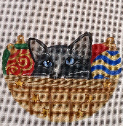 click here to view larger image of Christmas Cat Basket Ornament (hand painted canvases)