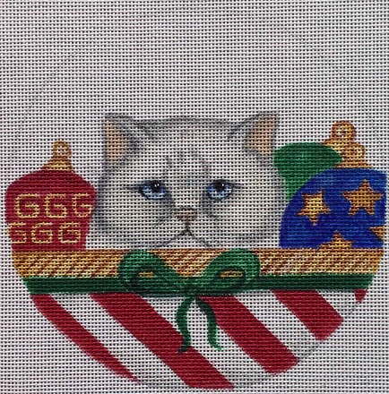 click here to view larger image of Persian Cat Basket Ornament (hand painted canvases)