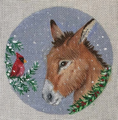 click here to view larger image of Cardinal Donkey Ornament (hand painted canvases)