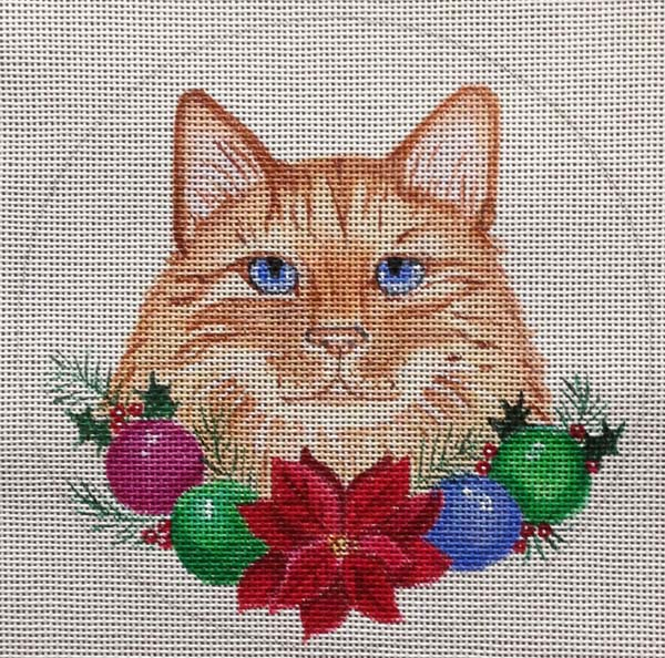 click here to view larger image of Christmas Garland Cat Ornament (hand painted canvases)