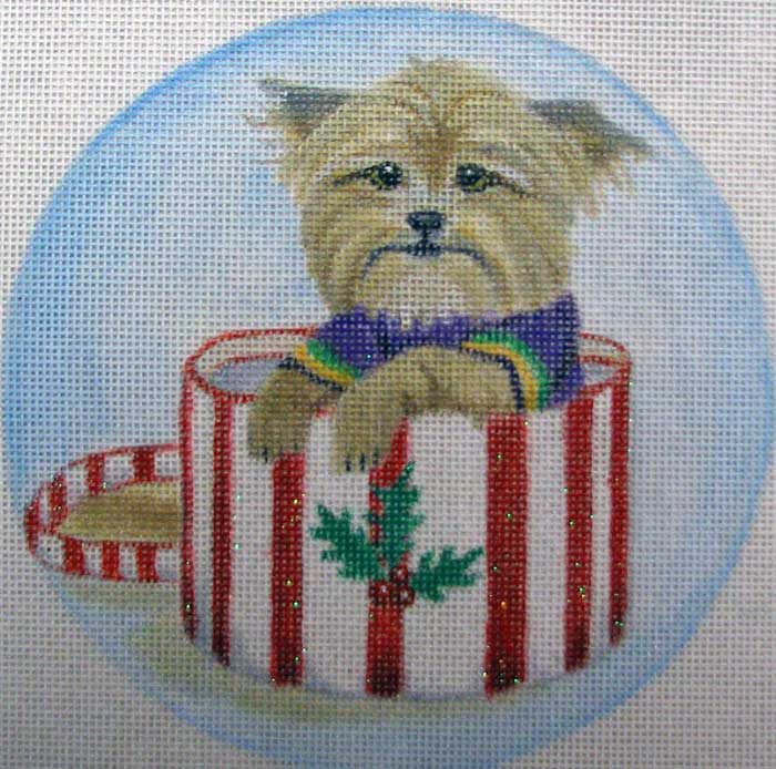 click here to view larger image of Yorkie Hatbox Ornament (hand painted canvases)