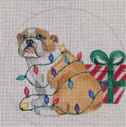 click here to view larger image of Bulldog Lights Ornament (hand painted canvases)