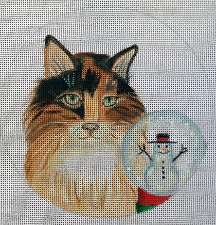 click here to view larger image of Calico Snowglobe Ornament (hand painted canvases)