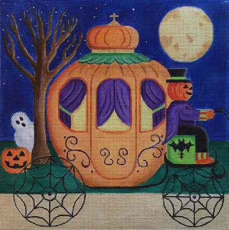 click here to view larger image of Pumpkin Carriage (hand painted canvases)