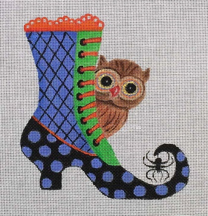 click here to view larger image of Halloween Hoot Boot (hand painted canvases)