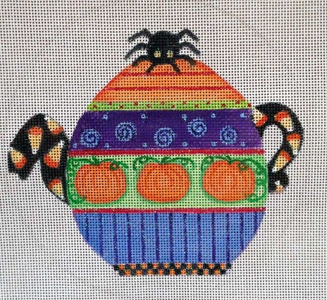 click here to view larger image of Halloween Teapot Ornament (hand painted canvases)