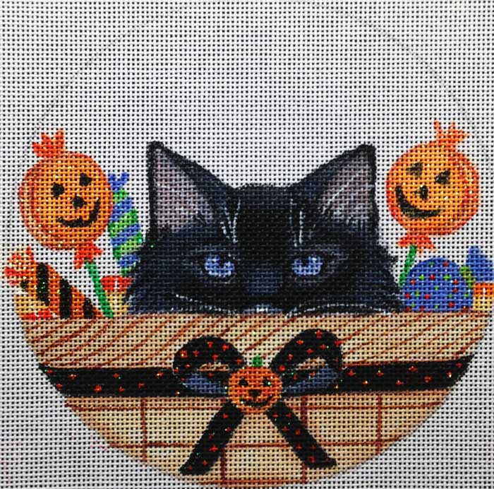 click here to view larger image of Halloween Kitty Basket Ornament (hand painted canvases)