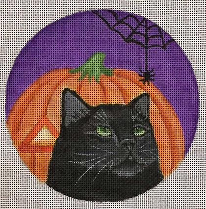 click here to view larger image of Pumpkin Spiderweb Ornament (hand painted canvases)