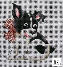 click here to view larger image of Black and White Dog (hand painted canvases)